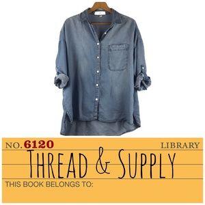 Thread & Supply Blue Denim Button Down Shirt Sz L
